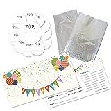 Postkartenschmiede 12 Einladungskarten Kindergeburtstag mit 12 Geschenktüten – Einladungen Geburtstag Jungen Mädchen mit Umschlägen