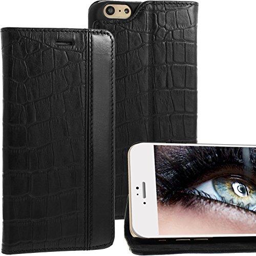 iPhone 6 Plus iPhone 6 Plus Lederhülle / Ledertasche / Hülle / Case / Cover / Etui / Tasche von Blumax® für Apple aus echtem Leder braun im Bookstyle mit Magnetverschluss Croco Schwarz