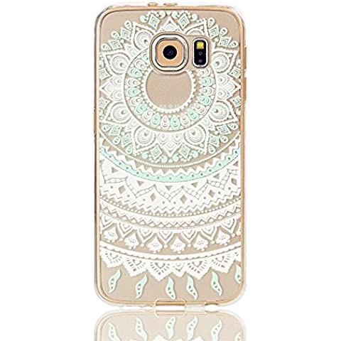 TKSHOP Case Cover Per Samsung Galaxy S7 Custodia TPU Silicone Gel Morbido Trasparente Caso Anti-impronte digitali Antigraffio Bello modello Dipinto - Blue Circle Flower Mandala