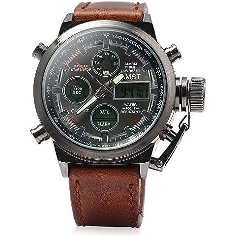 AMST - Reloj de pulsera para hombre, digital y analógico, luz LED, correa de piel, cuarzo, resistente al agua, estilo