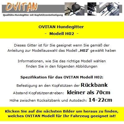 OVITAN Hundegitter fürs Auto 2 Streben universal zur Befestigung an den Kopfstützen der Rücksitzbank - für alle Automarken geeignet - Modell: H02 -