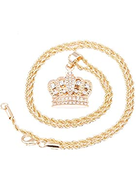 Herren Vergoldet Krone Micro Anhänger Iced Out Eisen Seil Kette 3mm 61cm Hip Hop Bling Halskette