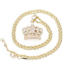 """Los hombres de la corona chapado en oro Micro colgante helado Out cadena de hierro 3mm 24""""Hip Hop Bling collar"""