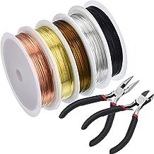 Juego de herramientas de reparación de joyas, 5 rollos de suave alambre de cobre para joyería más alicates y tenazas, para manualidades de bisutería