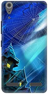 The Racoon Lean haunted house hard plastic printed back case / cover for Lenovo A6000 Plus