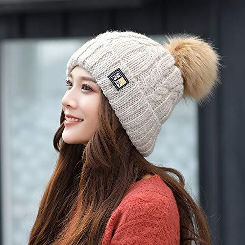 OWAXHWD Damenhut Hut Weibliche Winter Süße Nette Warme Strickmütze Kopf Herbst Wilder Monat Hut,Einheitsgröße,Belichtungsmesser