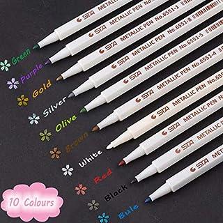 Metallic Marker Pens, Funnasting 10 Farben Metallic Marker Stifte Set Metallischen Stifte für Scrapbook Album, DIY Fotoalbum, Gästebuch, Hochzeit, Papier, Glas, Kunststoff, Stein