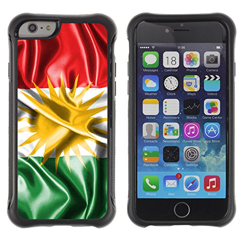 Graphic4You Kurdistan Kurdisch Flagge Stoßfeste Anti-Rutsch Weichen Hülle Case Tasche Schale Schutzhülle für Apple iPhone 6 Plus / 6S Plus Design #4