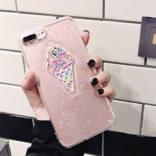Wkae Eiscreme-Muster-Funkeln-Puder-Schutz-rückseitige Abdeckungs-Fall für iPhone 7 Plus ( Color : Black ) Transparent