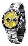 FIREFOX SILVER SURFER FFS13-108b sunray gelb Herrenuhr Armbanduhr massiv Edelstahl Chronograph Sicherheitsfaltschließe 10 ATM water resistant