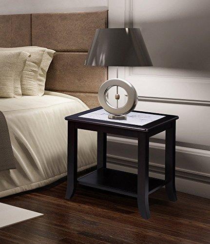 Olee Sleep Classic Calacatta Couchtisch aus natürlichem Marmor, Massivholzkante/Beistelltisch/Bürotisch/Computertisch/Schminktisch/Esstisch, Weiß/Schwarz