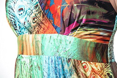 FEOYA Vintage Robe Maxi Longue Cocktail Femme Fille sans Manches Bretelles Spaghettis Dos nu Sundress en Col V Profond Taille Haute Bohême Plage Eté Soirée Imprimé Floral Grand Taille Elastique Multicolore 2