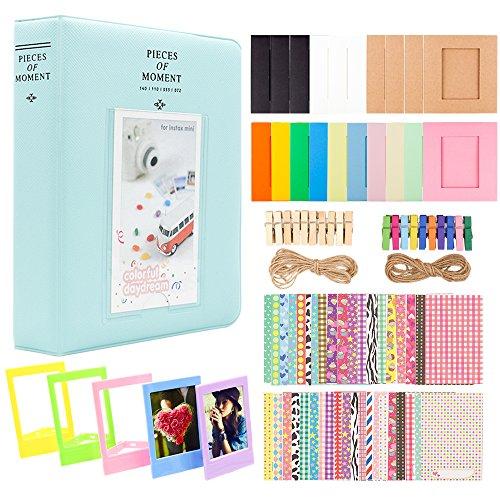 Preisvergleich Produktbild Ablus Store 2x3 Zoll Fotopapier Film Album Set für Fujifilm Instax Mini Kamera / HP Sprocket Fotodrucker / Polaroid Snap,  Z2300 und Zip Instant Printer (Eisblau,  64 Taschen)