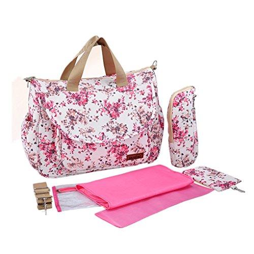 OLD-KING Baby Wickeltasche, Multifunktion Baby Windel Umhängetasche tragbare Einkaufstasche mit Wickelunterlage, Isolierte Tasche Rot