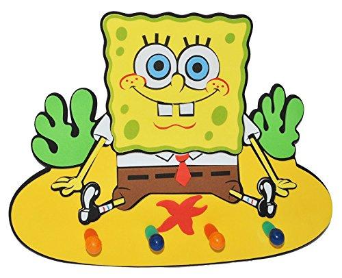 3-D Kindergarderobe - Spongebob Schwammkopf - mit 4 Kleiderhaken Moosgummi - Garderobenhaken Wandhaken Kinder Garderobe Kind Wandgarderobe Haken  Kinderzimmer