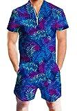 RAISEVERN Kurzarm Reise Urlaub Jumpsuit Anzug Hawaii Stil Hosen Kleidung Outfits