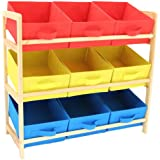 Hartleys Mobiletto a vista a 3 ripiani con 9 cesti in tela - Giallo, blu e rosso