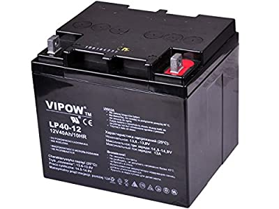VIPOW 12V 40Ah AGM Gel Battery Deep Cycle Maintenance Free UPS Scooter Golf Trolley