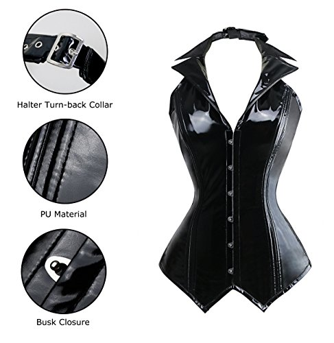 Charmian Women's PU Leather Rockabilly Halter Steel Bone Steampunk Vest Corset Nero
