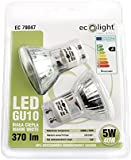 Ecolight GU10 5W Non-Dimmable Warm White LED Bulb: 40W Equivalent Twin Pack