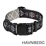 HAVNBERG Hundehalsband Gr. L Halsumfang 41,0cm – 66,0cm, breites Halsband für große und mittelgroße Hunde, Breite 3,8cm, schwarz, grau, GeoDog