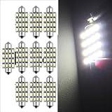 10 AUTO LAMPADINA SILURO 16 LED SMD 3528 BIANCO 42mm
