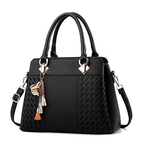 Keepop Frauen Geldbörsen Satchel Handtaschen Damen Designer Top Griff Tote Bag PU Leder Tasche Schwarz (Zippered Handtasche Bag Tote)