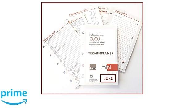 2020 BSB Terminplaner Mini 1 Woche 2 Seiten 02-0195 mit Jahresübersicht
