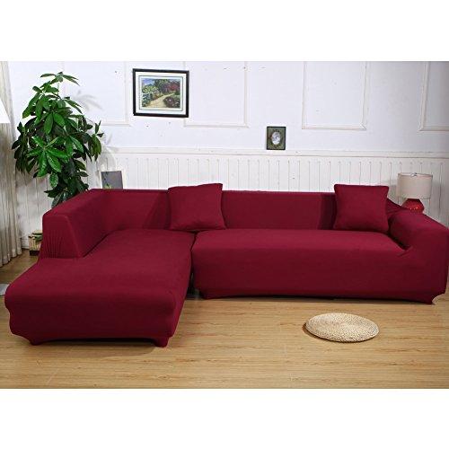 ele ELEOPTION, copridivano elasticizzato per divano a forma di L, set da 2 2 federe. rosso vivo