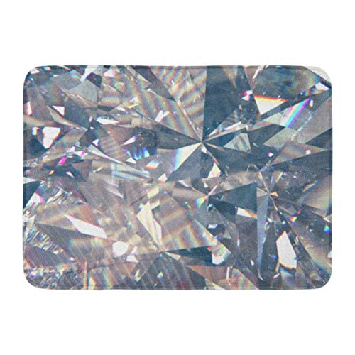 ghkfgkfgk Doormats Bath Rugs Outdoor/Indoor Door Mat Colorful Rainbow Layered Triangular Diamond Crystal Shapes 3D Rendering Model Gem Bathroom Decor Rug 23.6 x 15.7 Inch
