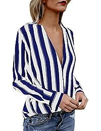 JURTEE Sommer Damen Streifen Oberteile Tiefem V-Ausschnitt Langarm  Gestreift Irregulär Saum T-Shirt Bluse… d388240026