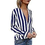 JURTEE Sommer Damen Streifen Oberteile Tiefem V-Ausschnitt Langarm Gestreift Irregulär Saum T-Shirt Bluse Tops(Medium,Blau)