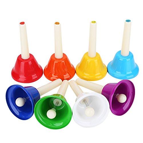 VGEBY Handklingel Set, 8 Note Metall Musial Handbells Diatonische Glocken Pädagogische Instrumente Spielzeug