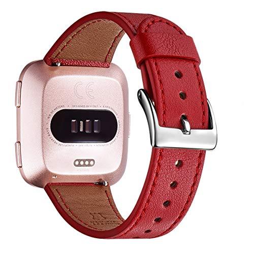 WFEAGL Kompatibel für Fitbit Versa Armband, Top Grain Lederband Ersatzband mit Edelstahl-Verschluss für Fitbit Versa Fitness Smart Watch (Rot+Silber Schnalle)