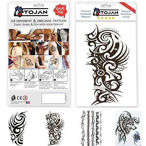 Tojan x 4 fogli: stupendo tatuaggio tribale temporaneo misto, taglia grande/ resistente all'acqua / tatuaggio temporaneo uomo tribale / tatuaggio adesivo totem / polinesiano / maori / selvaggio