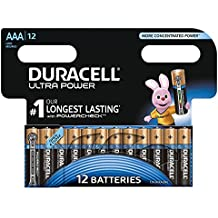 Duracell Ultra Power - Pack de 12 pilas alcalinas AAA, color negro