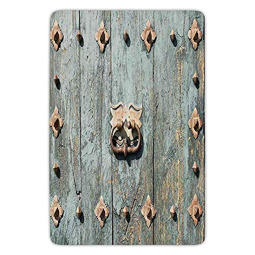 Bathroom Bath Rug Kitchen Floor Mat Carpet,Rustic,European Cathedral with Rusty Old Door Knocker Gothic Medieval Times Spanish Style Decorative,Turquoise,Flannel Microfiber Non-slip Soft Absorbent -