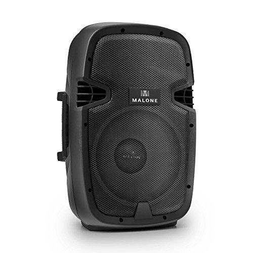 "Malone PW-2110 • aktive 2-Wege PA Box • PA-Aktiv-Lautsprecher • 200 Watt RMS • 25cm (10\"")-Tieftöner • 2-Band Equalizer • Mikrofonsektion • XLR- / Klinken-Eingang • Norm-Stativflansch • schwarz"