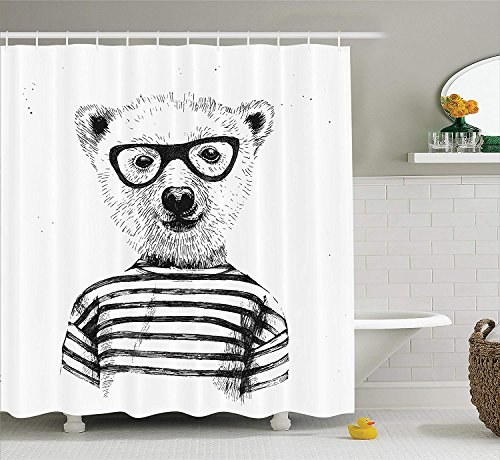 SRJ2018 Apartment Decor Duschvorhang Set Dressed Up Hipster Nerd Smart Männlicher Bär in Brille Spaß Charakter Tier Artful Print Badezimmer Zubehör Weiß Schwarz