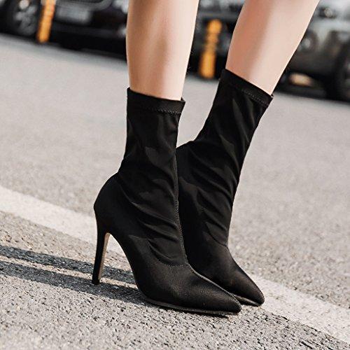 ALUK- Autunno e inverno - stivali da donna a tacco alto con maniche a punta ( Colore : Nero , dimensioni : 39-foot length 245cm ) Nero