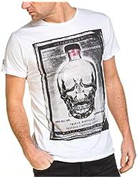Deeluxe 74 - Tee-shirt homme blanc brut imprimé tête de mort