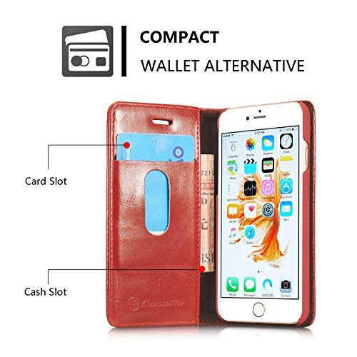 Roreikes iPhone 6 / 6S Hülle (4,7 Zoll), Neue Art und Weise Crazy Horse Luxus echtes Leder-Mappen-Karten-Slot-Abdeckung Schlag-Fall mit Standplatz für Apple iPhone 6 / 6S Hülle (4,7 Zoll) - Weiß Rot
