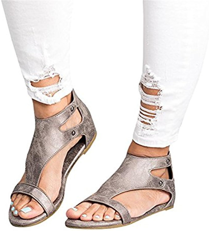 Shelers Damen Beiläufig Zehe Schleife Leder Flache Sandalen