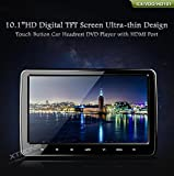 XTRONS 2x 10.1 Inch Twins HD Digital Screen Car Headrest DVD Player Ultra-thin Detachable Touch Button HDMI Port with One Pair of Children IR Headphones(BlueΠnk) by XTRONS