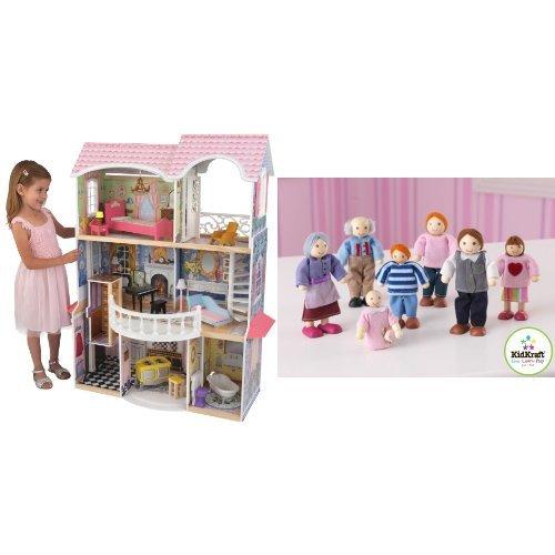 Pack KidKraft - 65839 - Maison poupée - Magnolia et KidKraft - 65202 - Famille de poupée