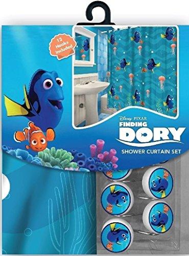 Das 13-teilige Disney Findet Nemo 's Dory Vorhang für die Dusche und Haken Set - Vorhang Kleinkind-mädchen-dusche