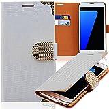 Handy Tasche mit Strass-Steinen Schutz Hülle Für HTC One M8 in Weiss Flip Cover Wallet Case Book Style Klapp Etui Schale