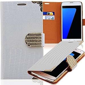 Luxus Strass Handy Tasche Schutz Hülle für HTC One X (S720e) Weiss Book-Style Leder Etui Glitzer Case Cover Bag