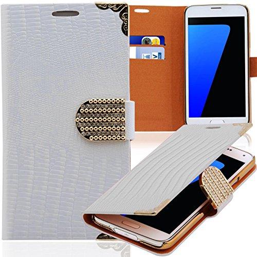 Luxus Strass Handy Tasche Schutz Hülle für Samsung Galaxy Note Edge SM-N915F Weiss Book-Style Leder Etui Glitzer Case Cover Bag