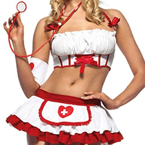JJPUNK sexy Kostüm NURSE SPITZE Karneval Krankenschwester S/M Halloween (S-M, Rot)